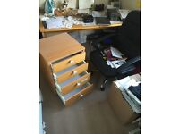 Office table, drawers and leather swinging chair