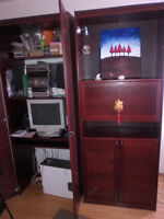 Ikea computer armoire  and bar cabinet