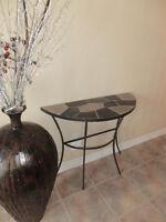 magnifique table en fer forgé et céramique