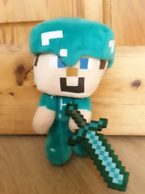Minecraft Diamond Steve plush toy. New