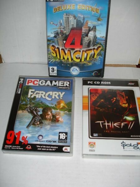 THREE PC DVD-ROM Games—FARCRY/THIEF11/DELUXE EDITION 4 SIM CITY