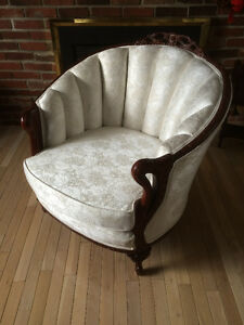 Restored Antique Rosewood Channel Back Chair