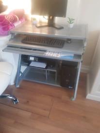 Sliver metal desk
