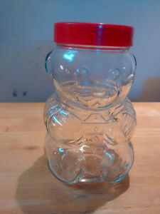 Glass Kraft teddy bear jar for sale