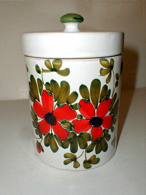 - Italian Pottery RED FLOWER Deruta Biscuit Jar/Sugar Canister