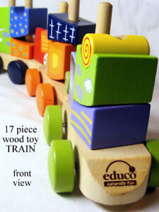 EDUCO wood toy train set, 17 pieces, do it your way = right way