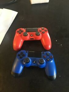 blue and red ps4 wireless controllers $50 each