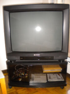 "33"" HITACHI TELEVISION SET AND STORAGE CABINET/STAND"