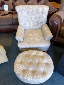 Lovely grey flowery chair and stool
