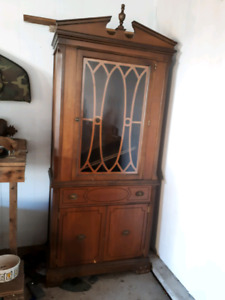 China cabinet, antique sewing machine, snowblower