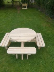 Round garden picnic bench