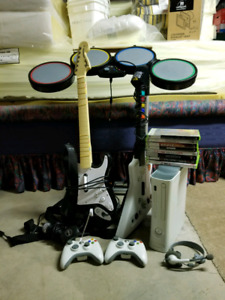 Xbox 360 w/ Rock Band, Guitar Hero & Other Games