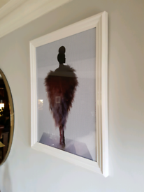 Lovely quality white framed picture. 18'' x 24''.
