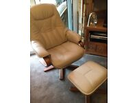 Cream leather arm chairs X2