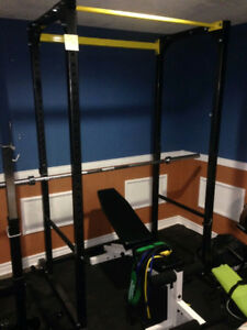 Northern Light Power Rack Safety Chin Up + York Bench no weights