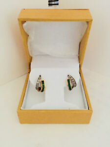 14 Karat Gold and Silver Earrings with Emerald and Diamond