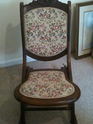 Antique Sewing Rocking Chair Fold-Up with floral upohestry on Rummage