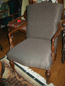 antique vintage arm chair new brown upholstery with footstool Oakville / Halton Region Toronto (GTA) image 1