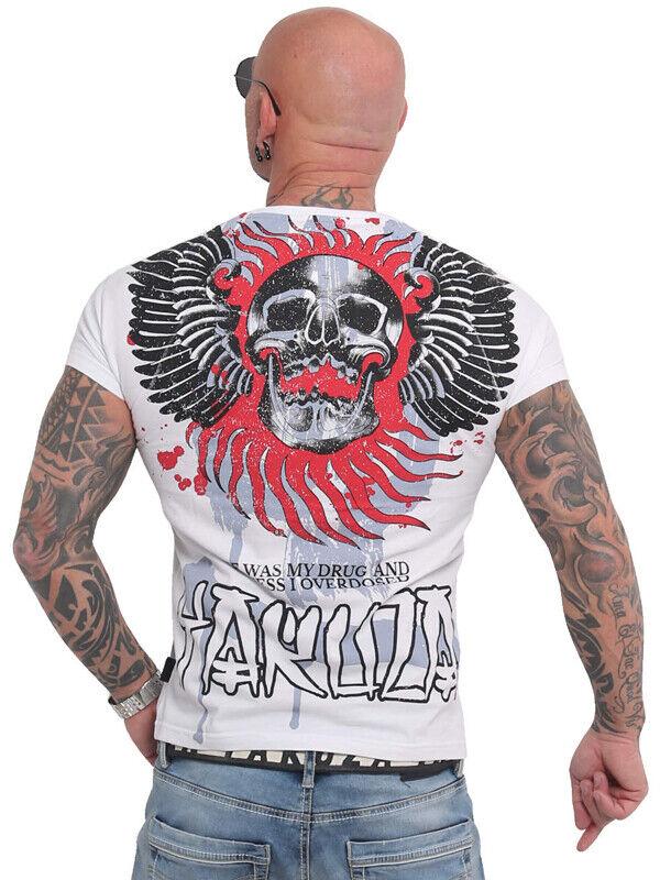 Yakuza Shirt Burning Skull weiß 16024 Herren, Männer T-Shirt Tattoo Streetwear