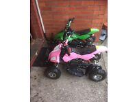 2 x matching mini quad bikes 50 cc spares or repairs