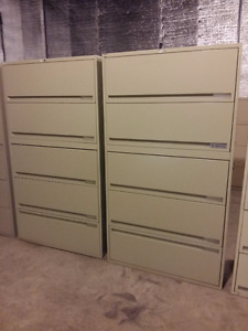 Two matching 5 drawer lateral filing cabinets