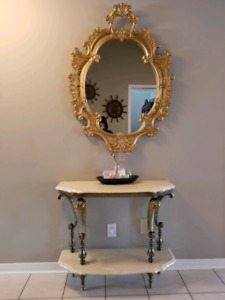 Marble console table with matching mirror