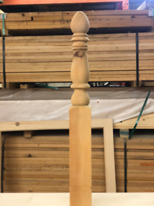 Pine Post Ball Top Unfinished 35x4x4