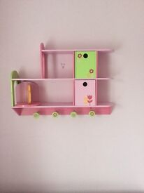Pink and Green Early Learning Centre Book Shelf and 3 Cube shelves