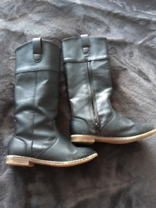 Tall leather boots girls size 12
