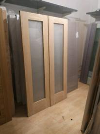 Internal Oak Glazed Double Doors Pattern 10