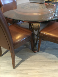 Glass Ashley Table with Wrought Iron and Wood Base & 4 Chairs
