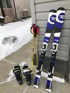 Kid Ski board with Ski Boots and poles