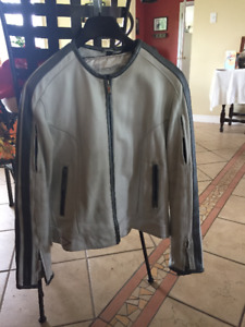 Ladies white leather motorcyle jacket