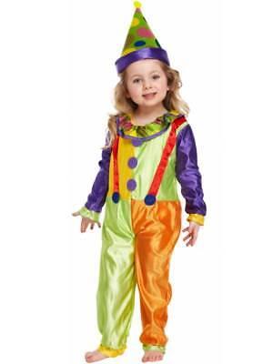 Toddler Kids Clown Fancy Dress Costume & Hat Circus Boys Girls Book - Toddler Boy Clown Kostüm