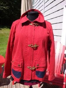 Red Ralph Lauren Cotton Jacket with Navy Accents Size XL