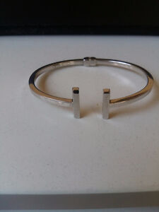 Double T bracelet sterling silver from italy