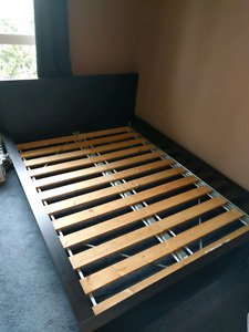 Ikea Full/Double (LOW) MALM Bed Frame with slats and beam