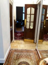 In door wooden door with bevill glass.