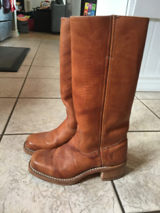 Authentic Frye Campus Boot Tan Leather Ladies Size 6 $100