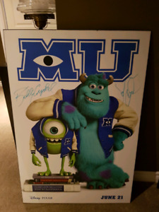 Signed Monsters University hard Mount poster