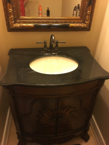 Vanity with matching pieces for powder room