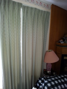 Good quality light green Curtains and rods