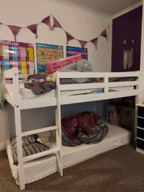 SOLD White wooden mid sleeper single bed
