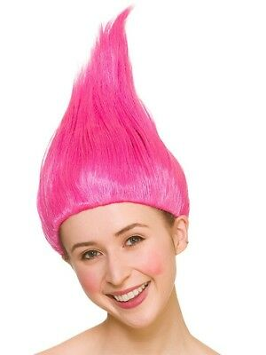 Trolls Pink Wig Ladies Fancy Dress Costume Hair Accessory Halloween Adults (Halloween Kostüme Troll)