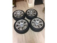 BMW E81 E82 E87 E88 E90 E91 E92 17 INCH M SPORT ALLOY WHEELS ALLOYS STAGGERED