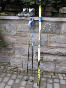 Fischer cross-country skis, poles, boots
