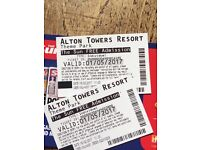 2 Alton towers tickets next Monday bank hol