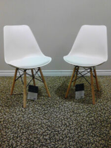 Four Brand New Eiffel Dining Chairs w/ Leather Seats