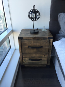Pair of Solid Wood Night Tables with Table Lamps