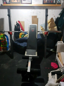 workout bench and rack